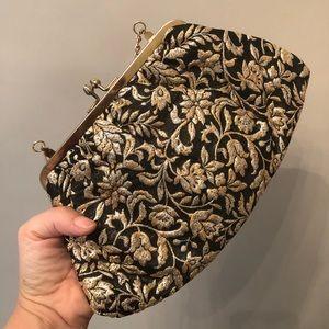 Handbags - Vintage Gold Embroidered Black Evening Bag